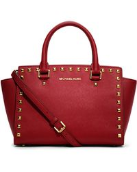 Michael by Michael Kors Medium Selma Studded Satchel - Lyst