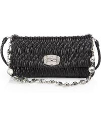 Miu Miu Double-Strap Pucker Leather Shoulder Bag - Lyst