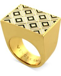Vince Camuto - Goldtone Black and White Geometric Cocktail Ring - Lyst