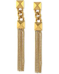 Vince Camuto - Gold Tone Double Pyramid Tassel Drop Earrings - Lyst
