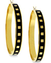 Vince Camuto - Gold Tone Square and Black Enamel Hoop Earrings - Lyst