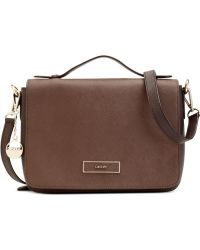 DKNY Saffiano Flap Shoulder Bag - Lyst