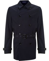 Kenneth Cole - Harper Double Breasted Raincoat with Trim Detail - Lyst