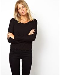 Asos Top with Seam Detail and Long Sleeves - Lyst