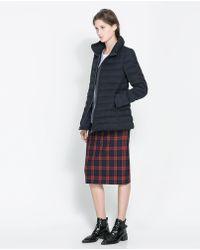 Zara Midlength Puffer Coat with Hood - Lyst