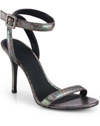 Alexander Wang Antonia Iridescent Snake embossed Leather Sandals - Lyst