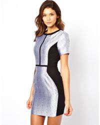 Asos Metallic Panel Shift Dress - Lyst