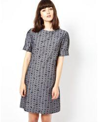 Bolzoni & Walsh Pleat Shoulder Dress - Lyst