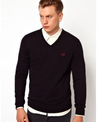 Fred Perry Sweater With V Neck - Lyst