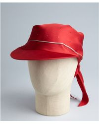 Hermes Red Silk Cap with Scarf - Lyst
