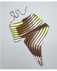 Hermes Yellow Striped Silk Convertible Bandeau Scarf - Lyst