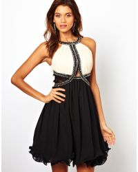 Little Mistress Skater Dress with Embellished Trim - Lyst