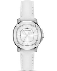 Burberry Burberry The Britain White Leather Strap Watch 34mm - Lyst