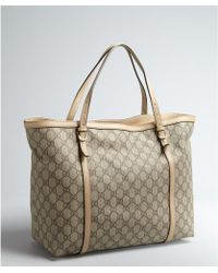 Gucci Beige Gg Canvas and Leather Tote Bag - Lyst