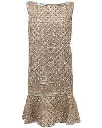 Oscar de la Renta Sleeveless Flounce Hem Beaded Dress - Lyst