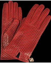 Moschino - Perforated Hearts Leather Gloves - Lyst