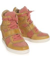 Ash - Coca Leather Wedge Trainers - Lyst