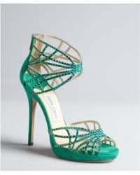 Jimmy Choo Jade Green Suede Sequined Cutout Ankle Cuff Diva Peep Toe Sandals - Lyst