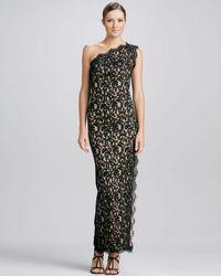 Tadashi Shoji Oneshoulder Sideslit Lace Gown - Lyst