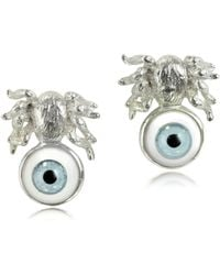 Bernard Delettrez - Silver Spider Earrings W/blue Eye - Lyst