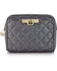 DKNY - Black Embossed Leather Beauty Case - Lyst
