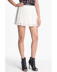 Jessica Simpson Katrina Faux Leather Trim Lace Skirt - Lyst