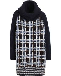 Mulberry Chunky Check Roll Neck blue - Lyst