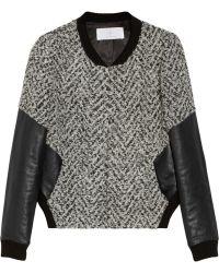 Thakoon Addition - Leather-sleeved Tweed Bomber Jacket - Lyst