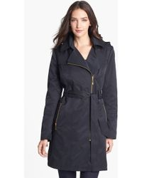 Vince Camuto Asymmetrical Zip Trench Coat with Detachable Hood - Lyst