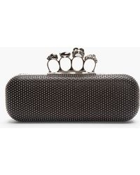Alexander McQueen Black Studded Leather Skull Knuckle box Clutch - Lyst