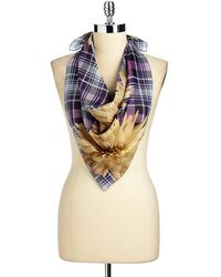 Echo - Floral Checked Scarf - Lyst