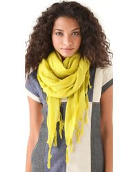 Love Quotes - Knotted Tassel Linen Scarf - Charcoal - Lyst