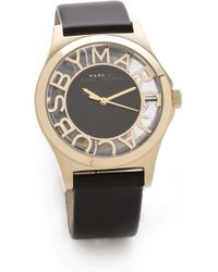 Marc By Marc Jacobs Henry Skeleton Leather Watch Goldblack - Lyst