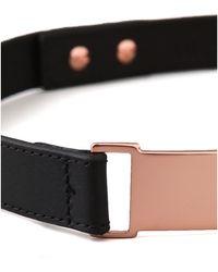 Nicholas - Roxanne Thin Rose Gold Plate Belt - Black - Lyst