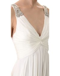 Reem Acra V Neck Gown With Jeweled Straps - Ivory - Lyst