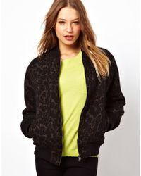 Dress Gallery - By Zoe Animal Print Soft Wool Bomber - Lyst