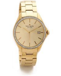 Kate Spade Seaport Grand Crystal Bezel Watch - Gold/Clear - Lyst