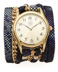 Sara Designs - Print Leather Chain Wrap Watch - Lyst