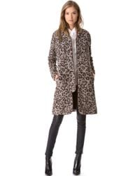 Thakoon Addition - Leopard Coat with Leather Trim - Lyst