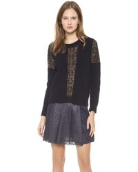 Thakoon - Ribbed Lace Inset Pullover - Lyst