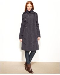 Calvin Klein Hooded Long Quilted Puffer - Lyst