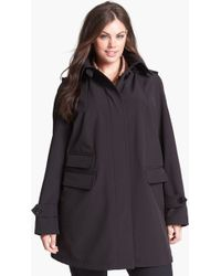 Gallery Soft Shell Swing Coat with Detachable Hood - Lyst