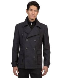 Kenneth Cole - Double Breasted Pea Coat - Lyst