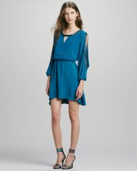 Madison Marcus - Beaded Silk Cutout Dress - Lyst