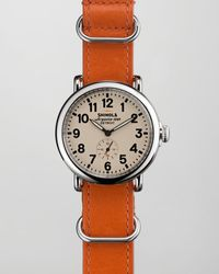 Shinola 41mm Runwell Nato Strap Mens Watch Orange - Lyst
