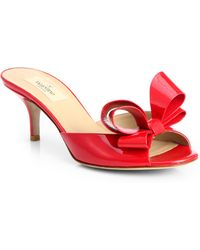 Valentino Couture Patent Leather Bow Slides - Lyst