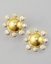 Elizabeth Locke - Diamond-detailed 19k Gold Dome Earrings - Lyst