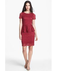 Velvet By Graham & Spencer Lace Peplum Sheath Dress - Lyst