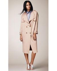 Burberry Knitted Merino Wool Trench Coat - Lyst