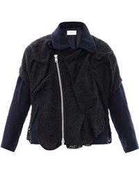 Julien David - Lace-Overlay Wool Biker Jacket - Lyst